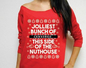 ugly christmas sweater jolliest bunch of asholes this side of the nuthouse
