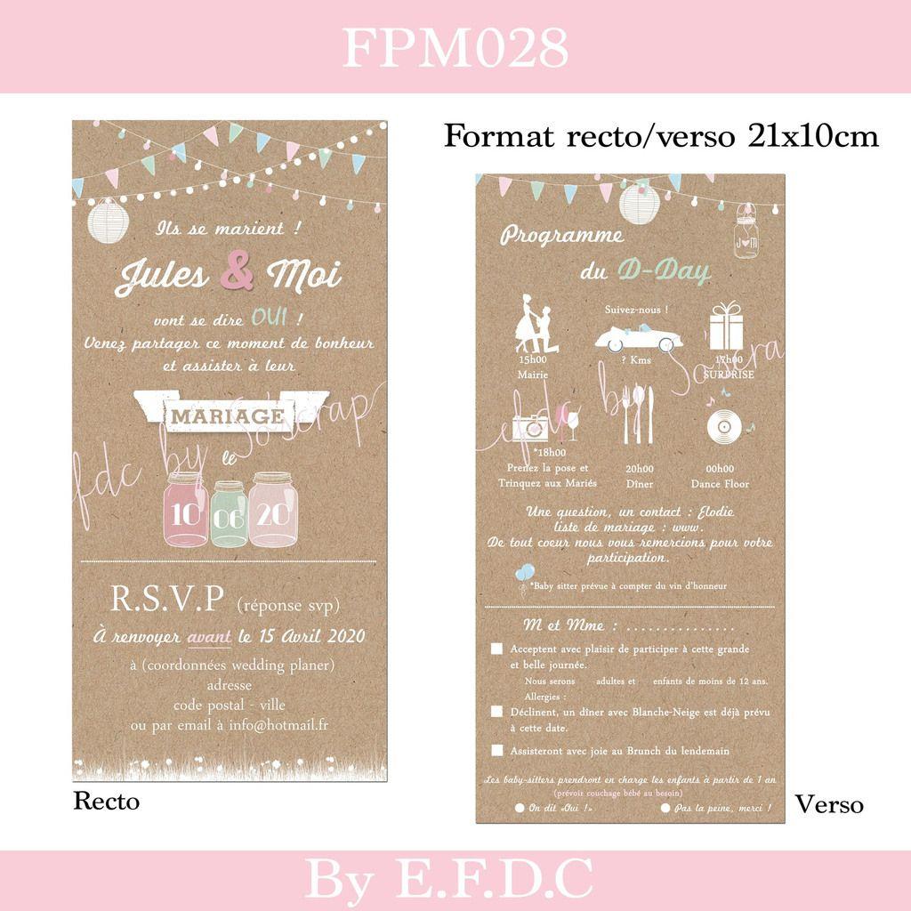 Häufig RÉF FPM028, faire part mariage impression fond kraft, recto verso  GV64