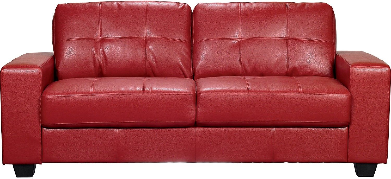 Leather · Costa Red Bonded Leather Sofa ...