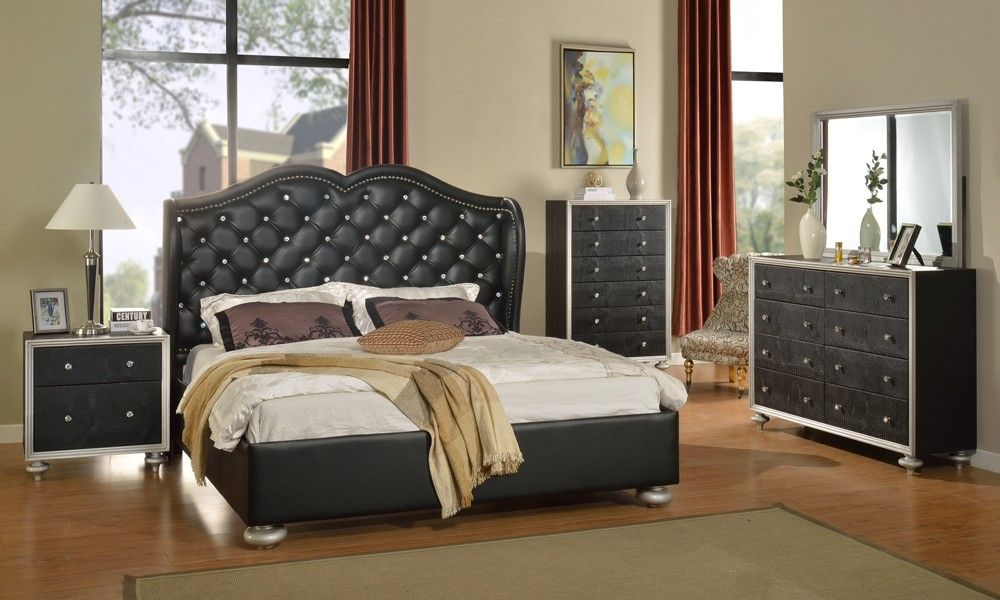 Best Glam Black Crystal Tufted Leather Bed Modern Bedroom 400 x 300