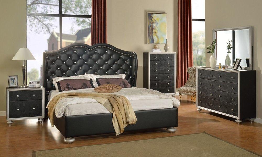 Glam Black Crystal Tufted Leather Bed  Modern Bedroom
