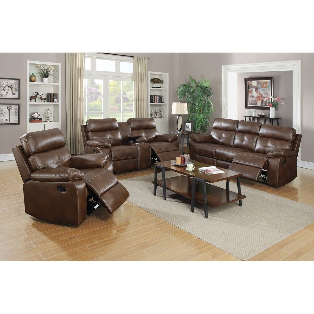 Best Benton Brown 3 Piece Faux Leather Living Room Set In 2020 640 x 480