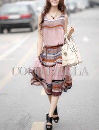 Pink Ladies Fashion Bohemian Style Stripe Beach Long Chiffon Dresses M/L FZ70655p2