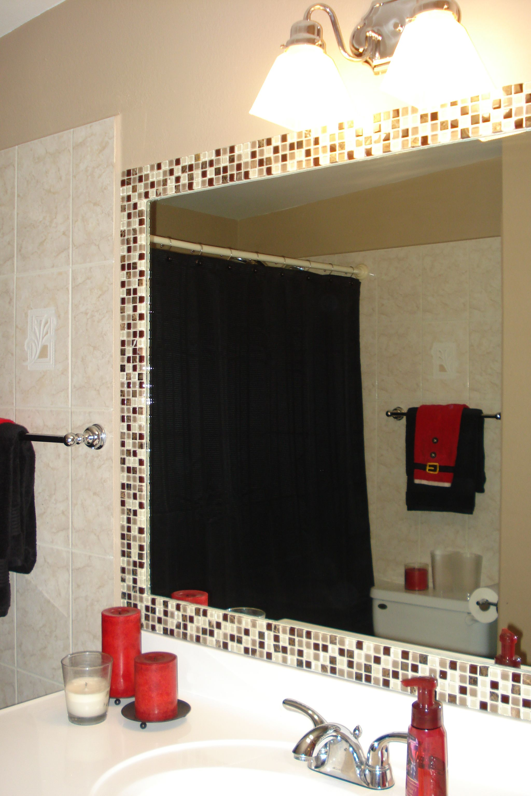 simple way to dress up a plain bathroom mirroradd tile! | for