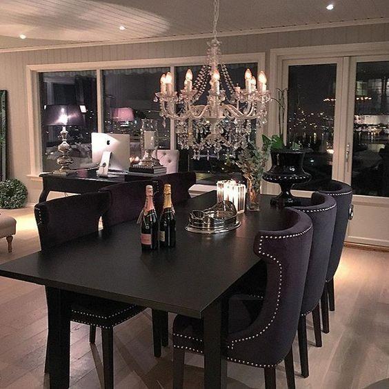 Dining Room Design, Black Dining Room Table