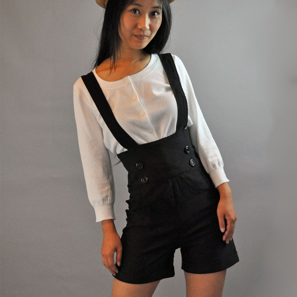 bdfe9a2359e vintage HIGH waisted SHORTS   Black Stretch Suspender shorts   Romper  Shorts Wide Waistband Button Trims XS   S.  46.00