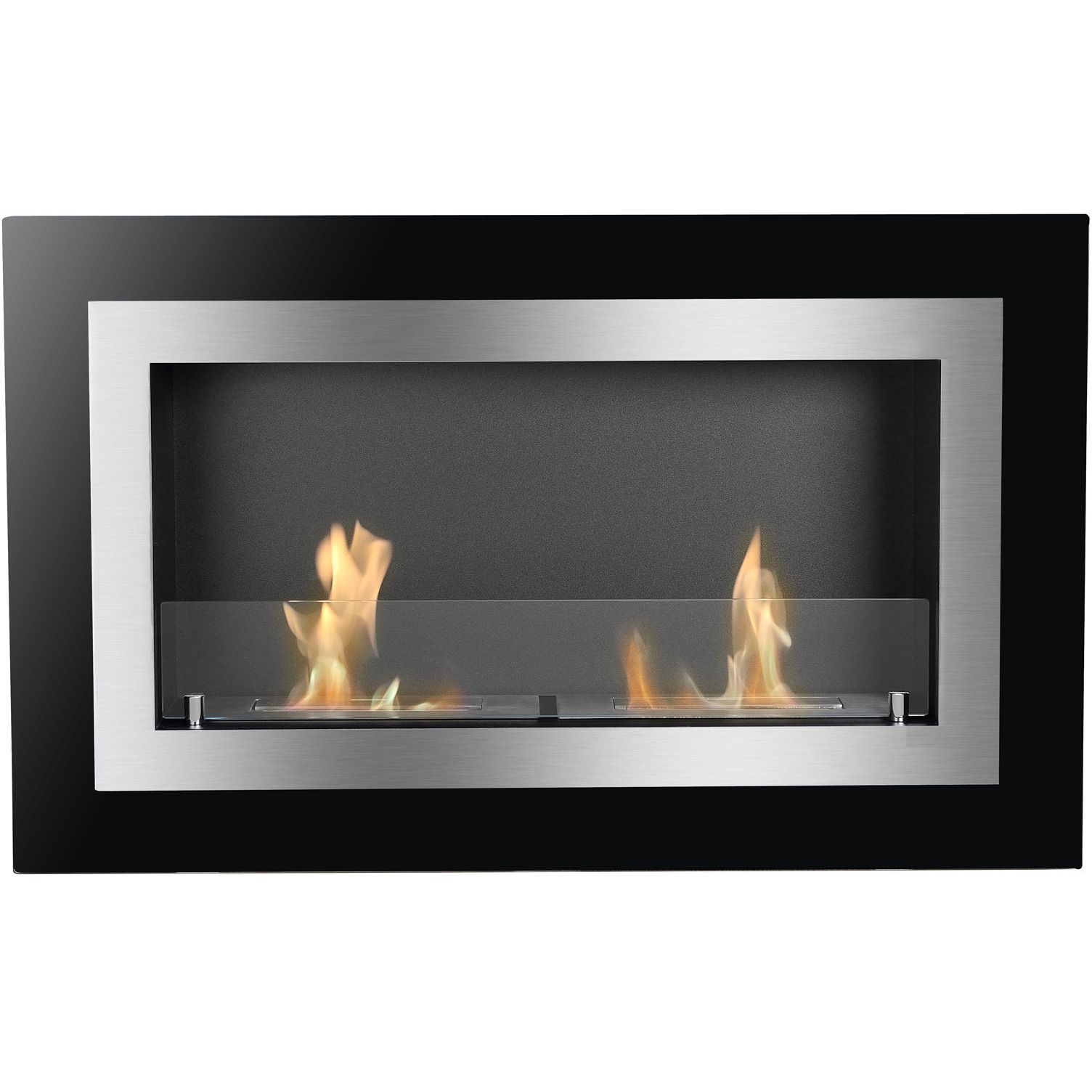 villa wall mounted ventless ethanol fireplace with glass barrier