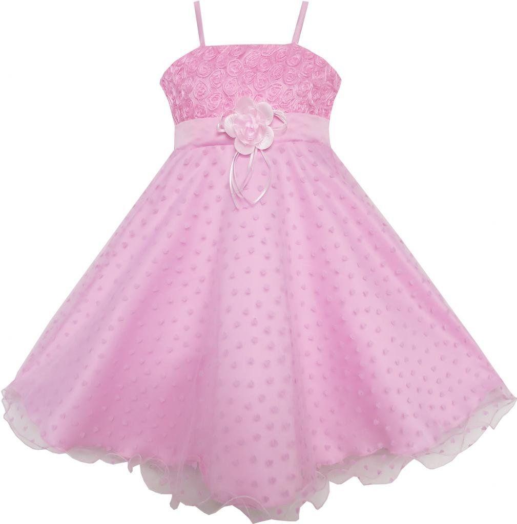 Mädchen Kleid Blume Rosa Rose Tank Hochzeit Festzug: Amazon.de ...