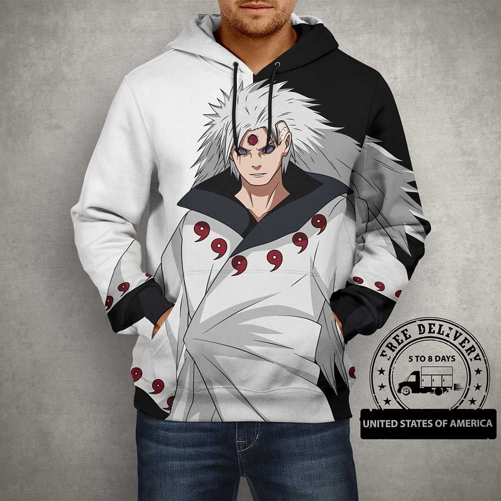 Anime Naruto Uchiha Six Paths White & Black 3D Print