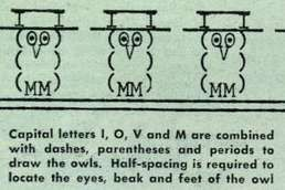 1948 issue of Popular Mechanics that shows an owl created with typewriter art. #owl #typewriter