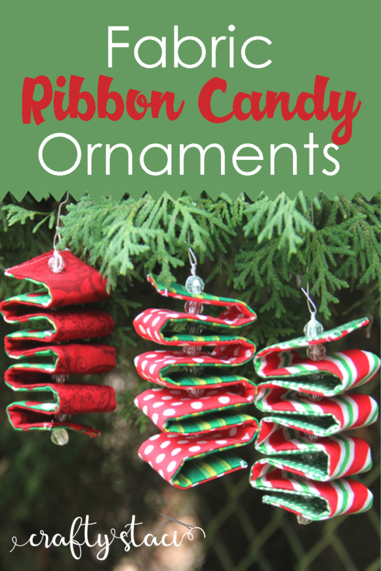 Fabric Ribbon Candy Ornaments from Crafty Staci #diyornaments #christmasornaments #holidayornaments #ribboncandy