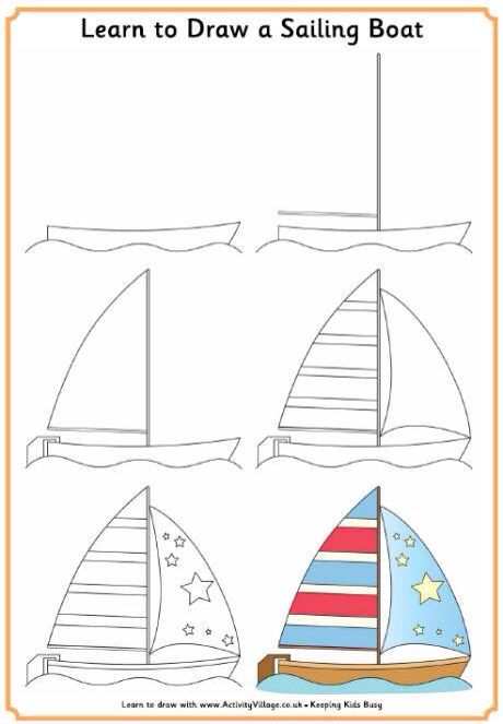 Learn To Draw Asailing Boat With Images Drawing For Kids