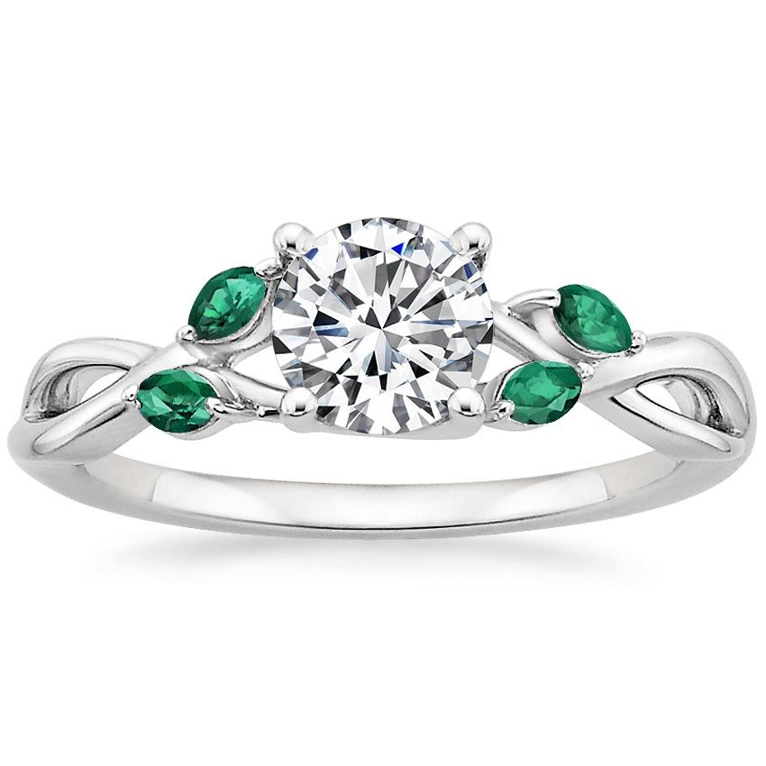 18K White Gold, Willow Ring With Lab Emerald Accents