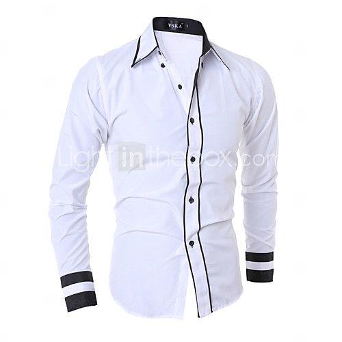 Para Hombres Camisa Blanca Formal de manga larga ajustada