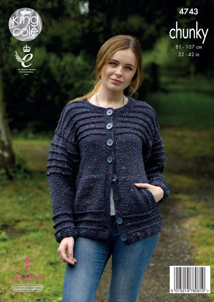 b2470675d67374 Cardigan   Sweater in King Cole Chunky Tweed - 4743 - Leaflet. Discover  more patterns