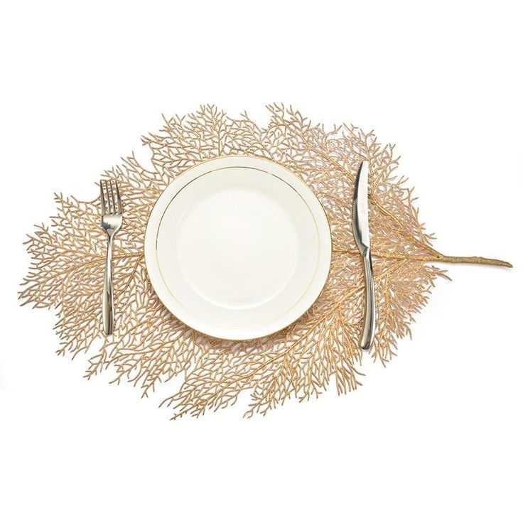 Metallic Leaf Creative Dining Table Placemat Coffee Table Mat Placemats Table Coasters
