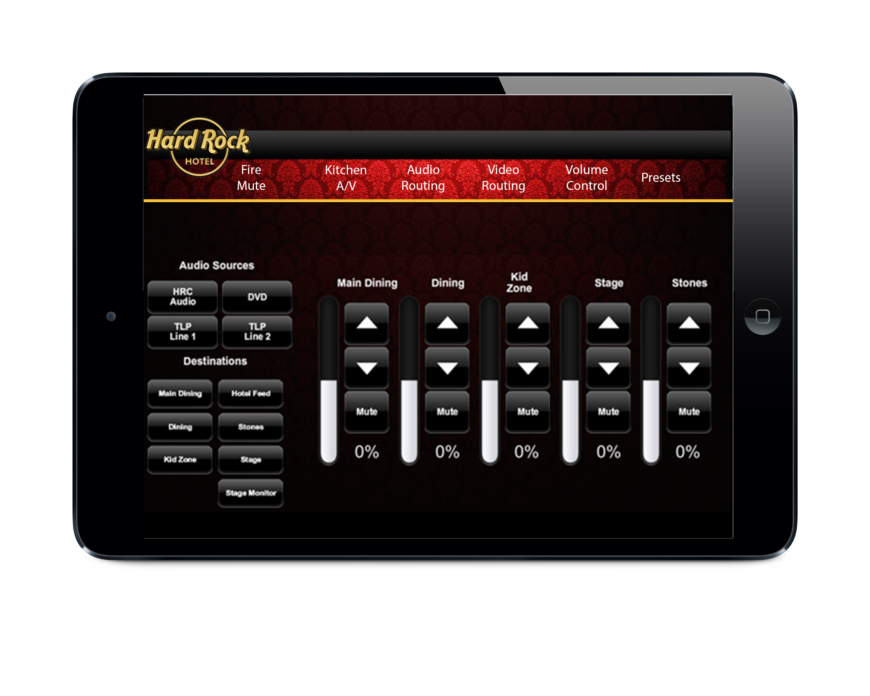 Crestron iPad design for Loews Hard Rock Hotel @ Universal Studios, Orlando FL.   #AscendStudios, www.AscendStudios.com