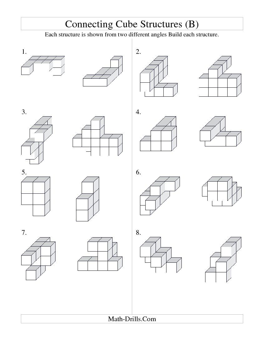 Building Connecting Cube Structures (B) Geometry Worksheet   수학 [ 1100 x 850 Pixel ]