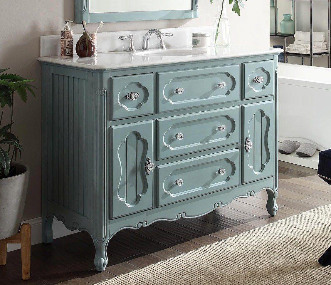 Adelina 48 inch Antique Cottage Bathroom Vanity Antique Blue Finish