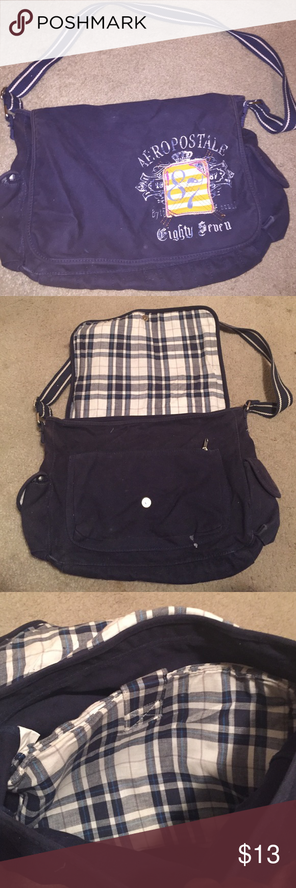 Aeropostale laptop bag Navy blue Aeropostale laptop bag. Still looks good inside and out. Plaid laptop case come inside of bag . The bag is a cotton/linen material which means it can attract dust just get a lent brush or thrown in washer will look good as new. Really sturdy with long adjustable strap to wear as crossbody/satchel/on shoulder. Blue & white plaid detail inside of bag. Only thing is the snap closure doesn't snap but that's an easy fix. Or just flap it over like I did nothing…