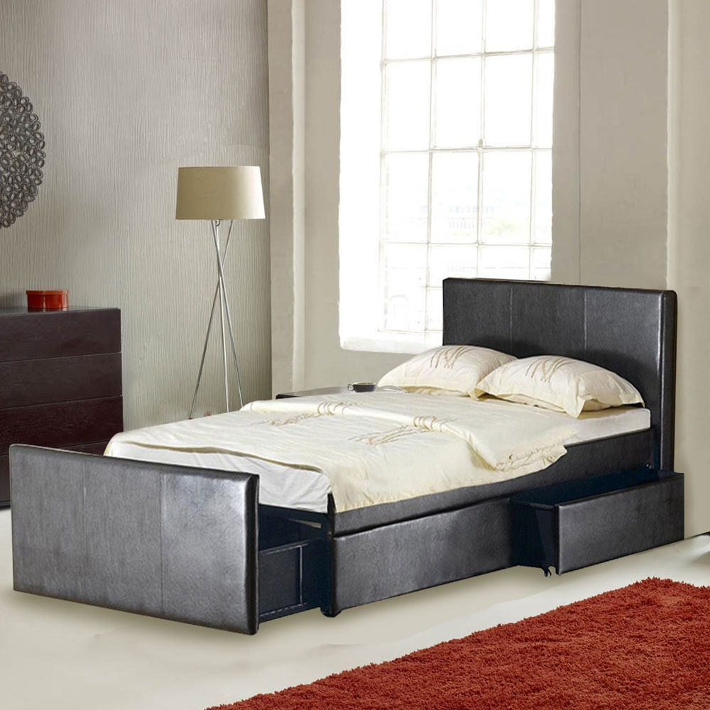 LEATHER 4FT6 DOUBLE STORAGE BED WITH 3 LARGE DRAWERS BLACK/BROWN - FREE DELIVERY & Leather 4ft6 double storage bed with 3 large drawers black/brown ...