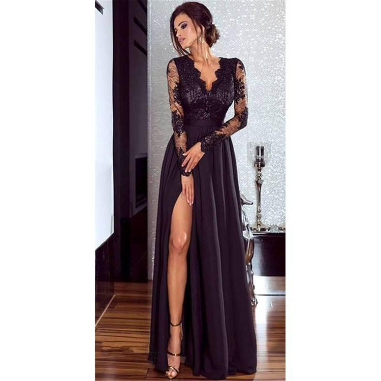 Kadınlar Dantel Akşam Parti Balo elbise Bayanlar Örgün İmparatorluğu Bel Uzun Elbise Katı V Yaka Uzun Kollu Kat-Uzunluk Maxi Elbiseler