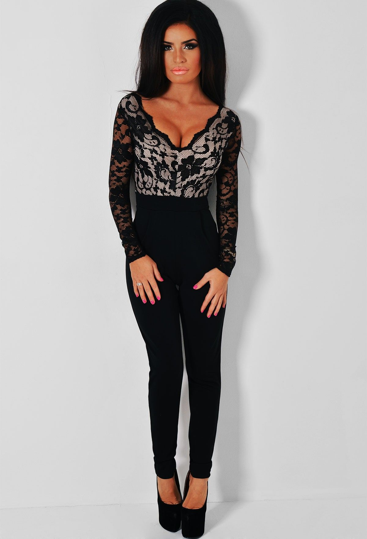 af9a60e2fd48 Haviana Black Lace Upper Jumpsuit