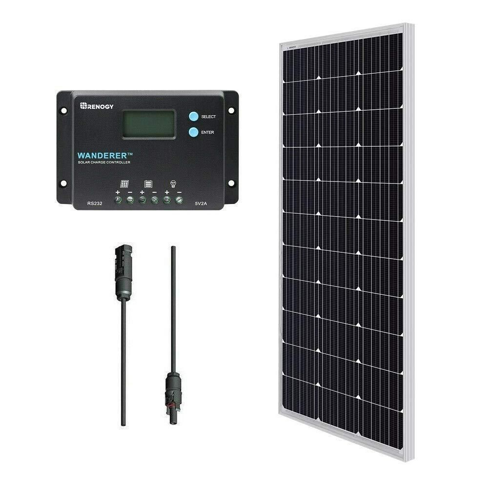 Renogy 12 Volt 100 Watt Monocrystalline Bundle Kit Solar Panel With Wanderer 10 Amp Charge In 2020 Solar Panel Installation 100 Watt Solar Panel Solar Panels For Home
