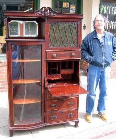 1800 Curved Glass Bookcase Marketry Secretary Desk | eBay