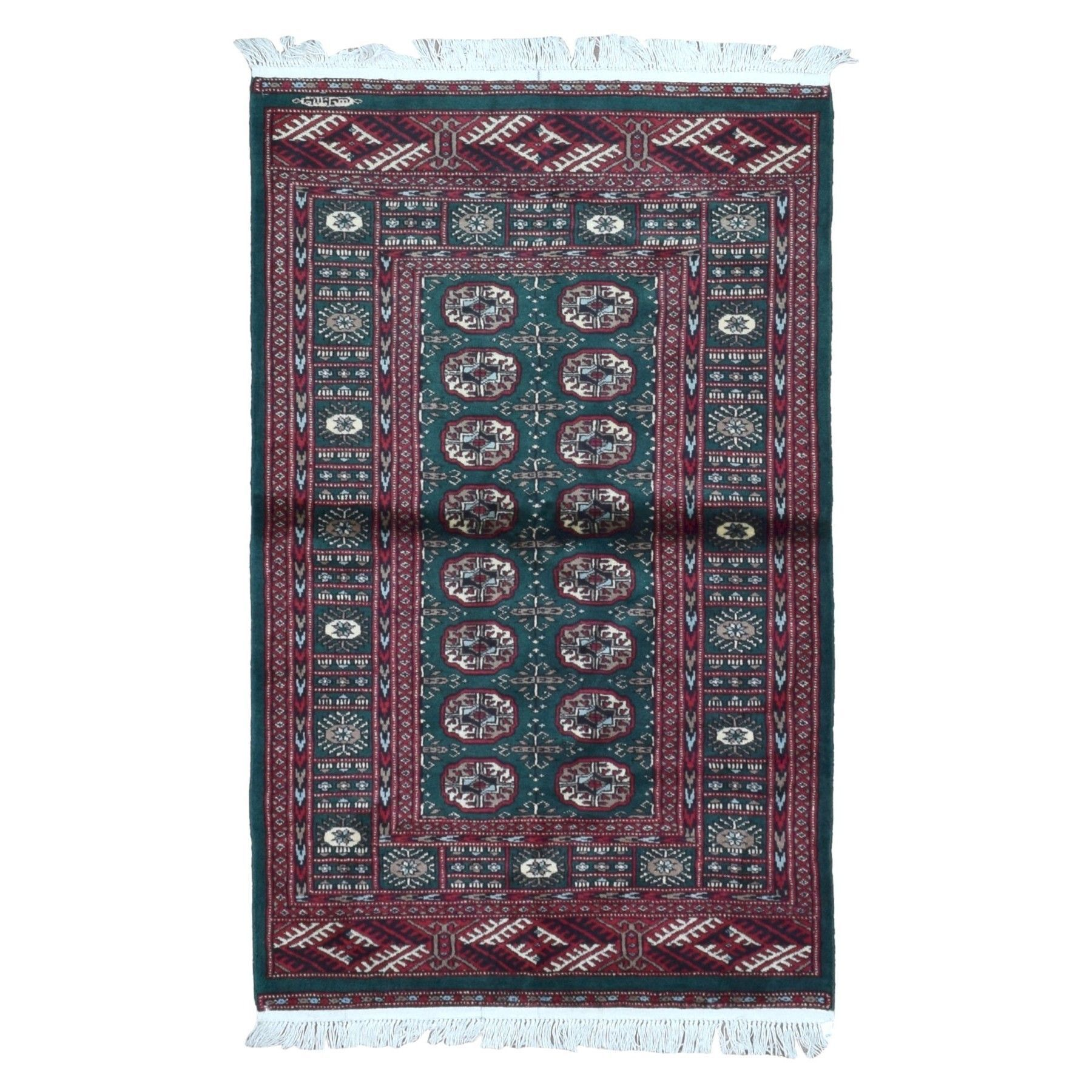 2a428d472cff FineRugCollection Hand Knotted Signed Bukhara Red Wool Oriental Rug (4  x  6 )
