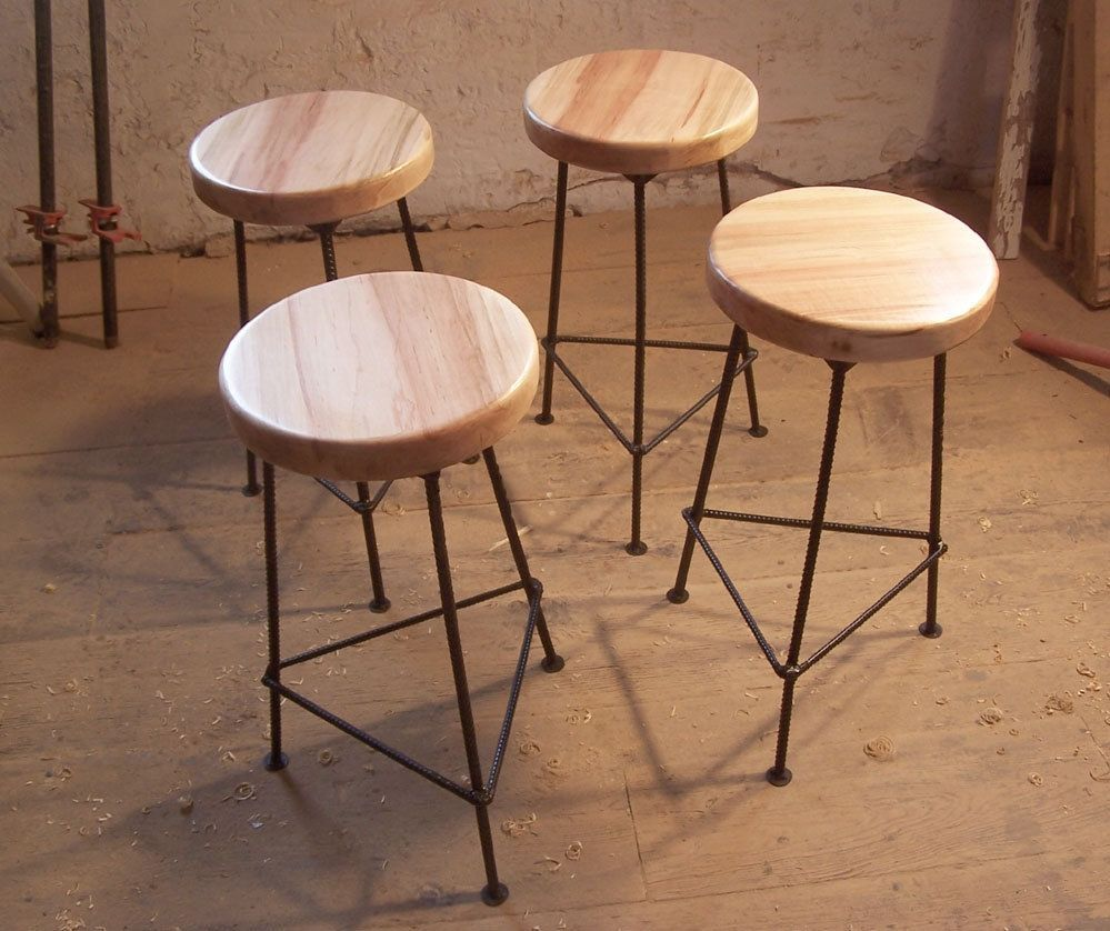 Bar Stool Made From Maple And Metal Bar Stools Custom Bar Stools Metal Bar Stools