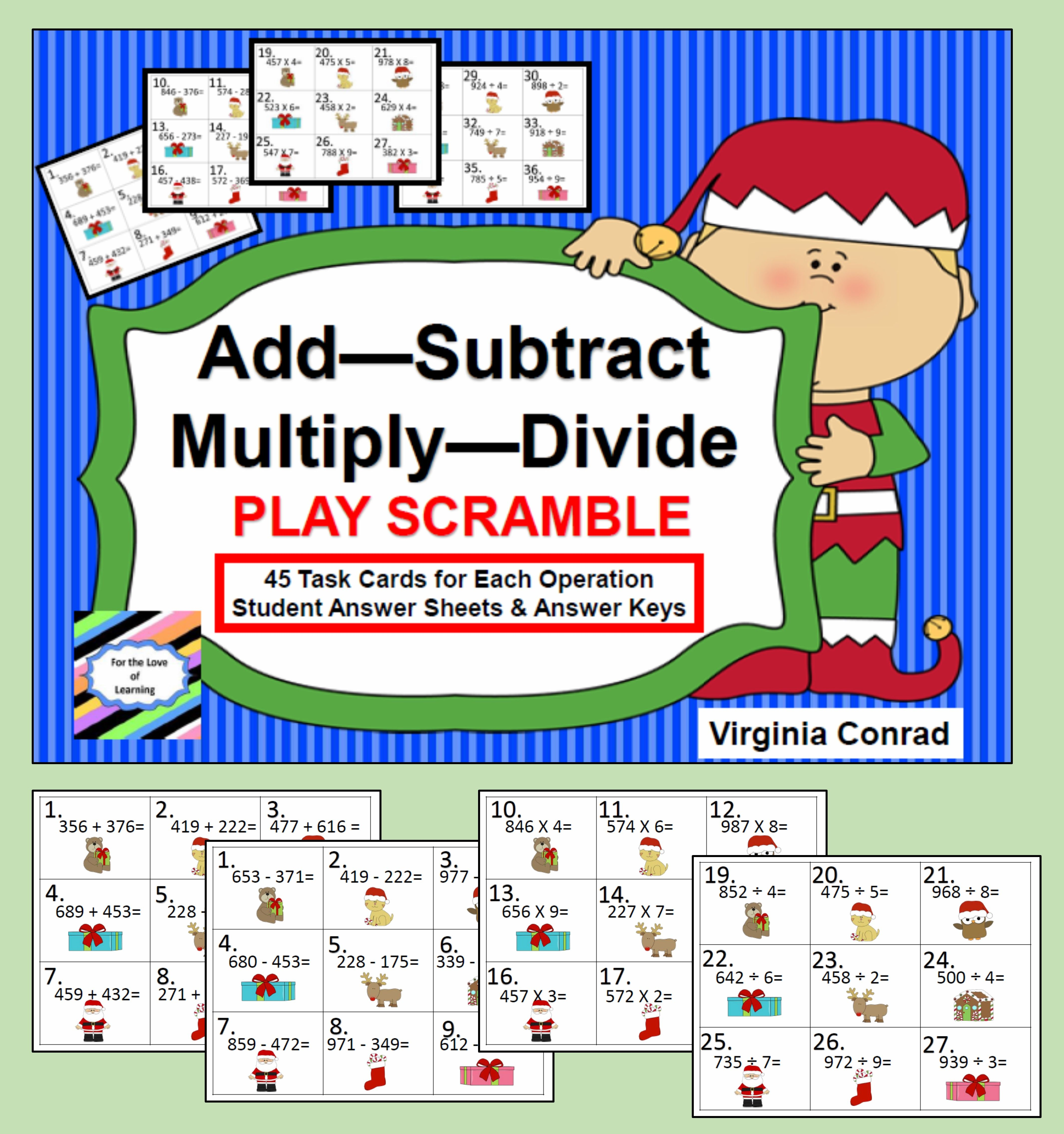 Add Subtract Multiply Divide Christmas Task Cards