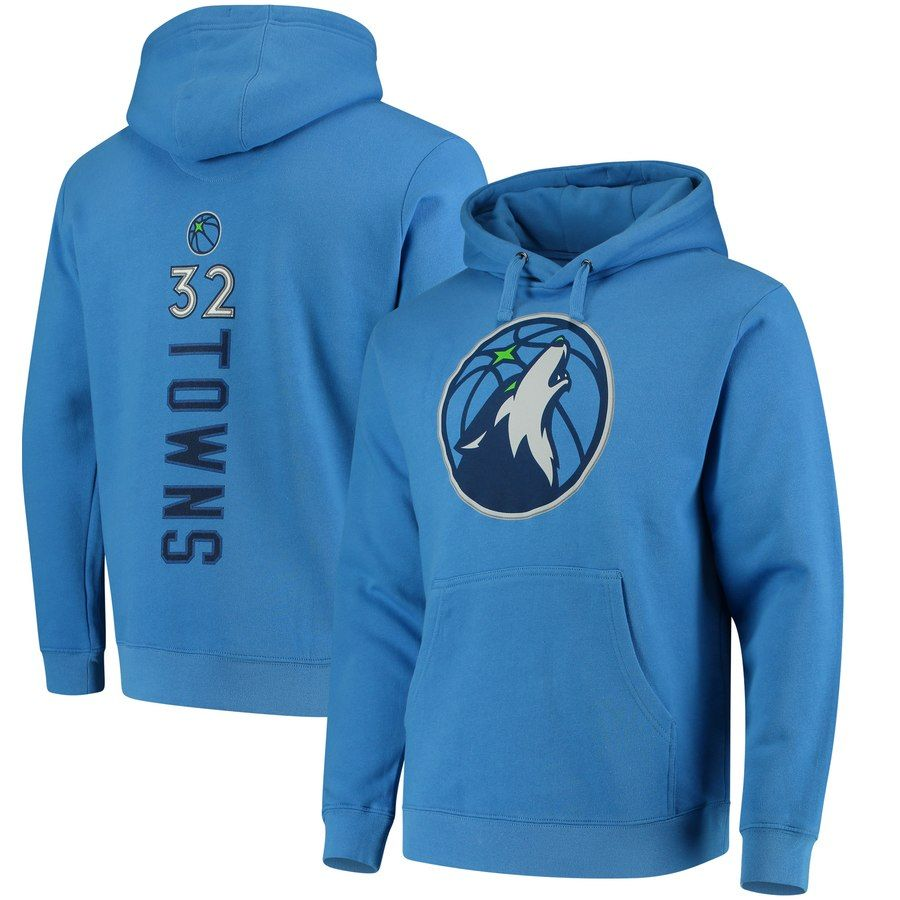 61ad6b4ce0b2cb Men s Minnesota Timberwolves Karl-Anthony Towns Fanatics Branded Blue  Backer Name   Number Pullover Hoodie