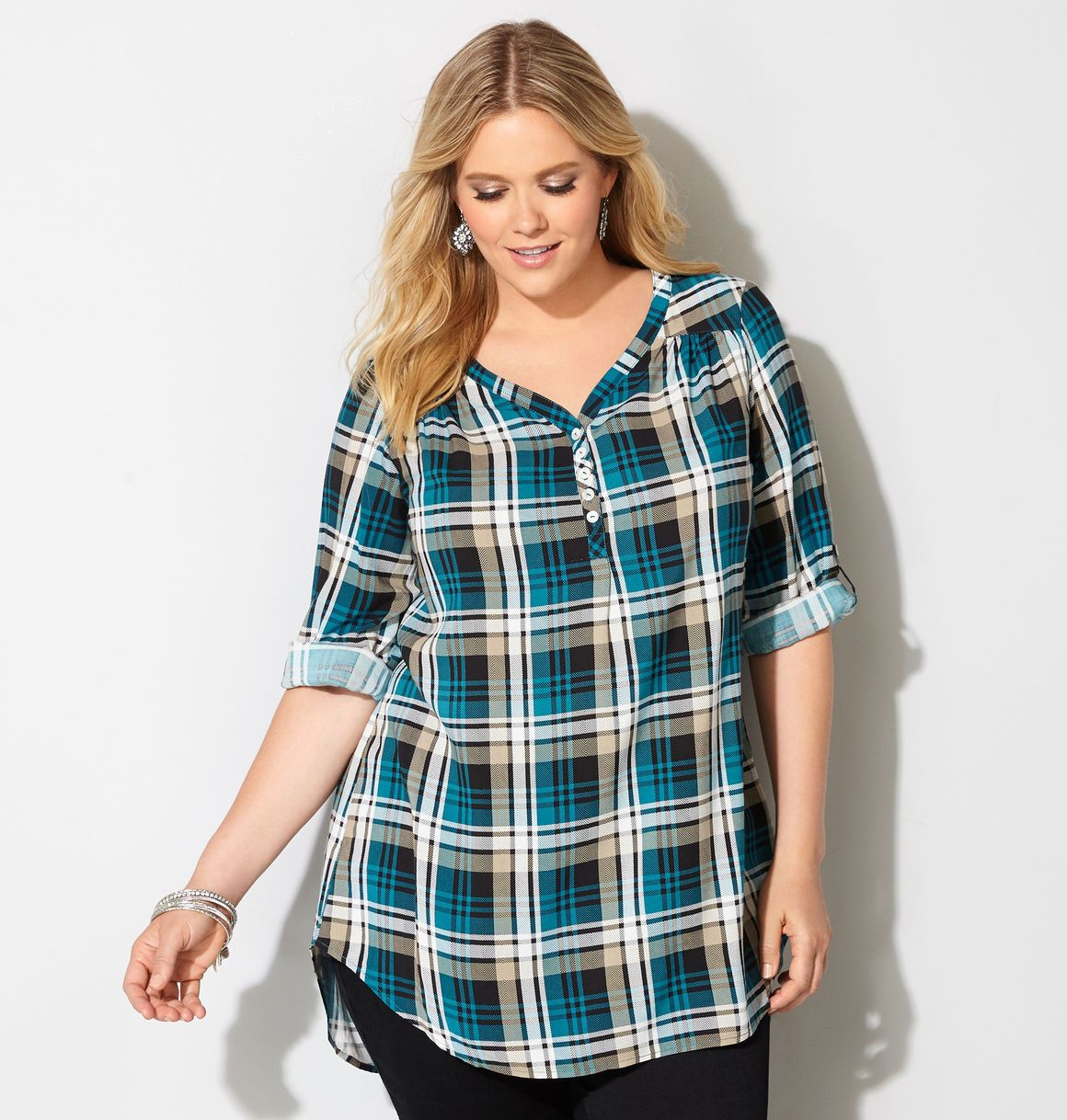 490e0cdb911 We ve updated our classic henley with new plaid print. Plus Size ...
