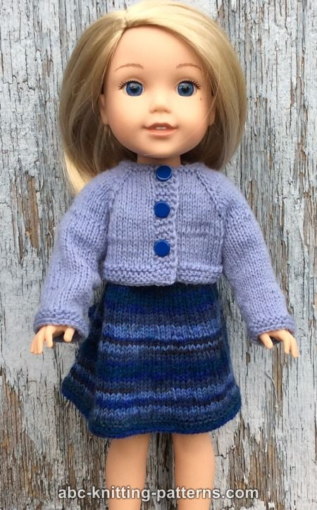 ABC Knitting Patterns - Wellie Wishers Doll Dress and Cardigan (14 ...