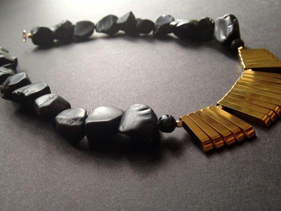 Hematite & Jet beads Ethnic Tribal African Black Nubia by 84Gem, $65.00