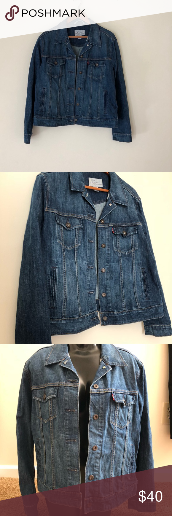 LEVIS DENIM JACKET This jacket is perfect for any season. So cute over a dress or denim on denim look, so many ways to wear this jacket and it will never go out of style. It's in excellent condition. Size XL. No trades. Smoke free home. Thanks for looking! Levi's Jackets & Coats Jean Jackets
