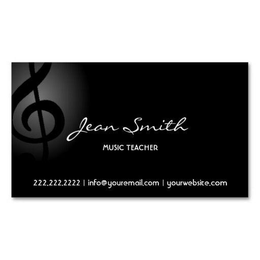 Music Teacher Elegant Dark Clef Business Card Zazzle Com Musician Business Card Teacher Business Cards Business Cards