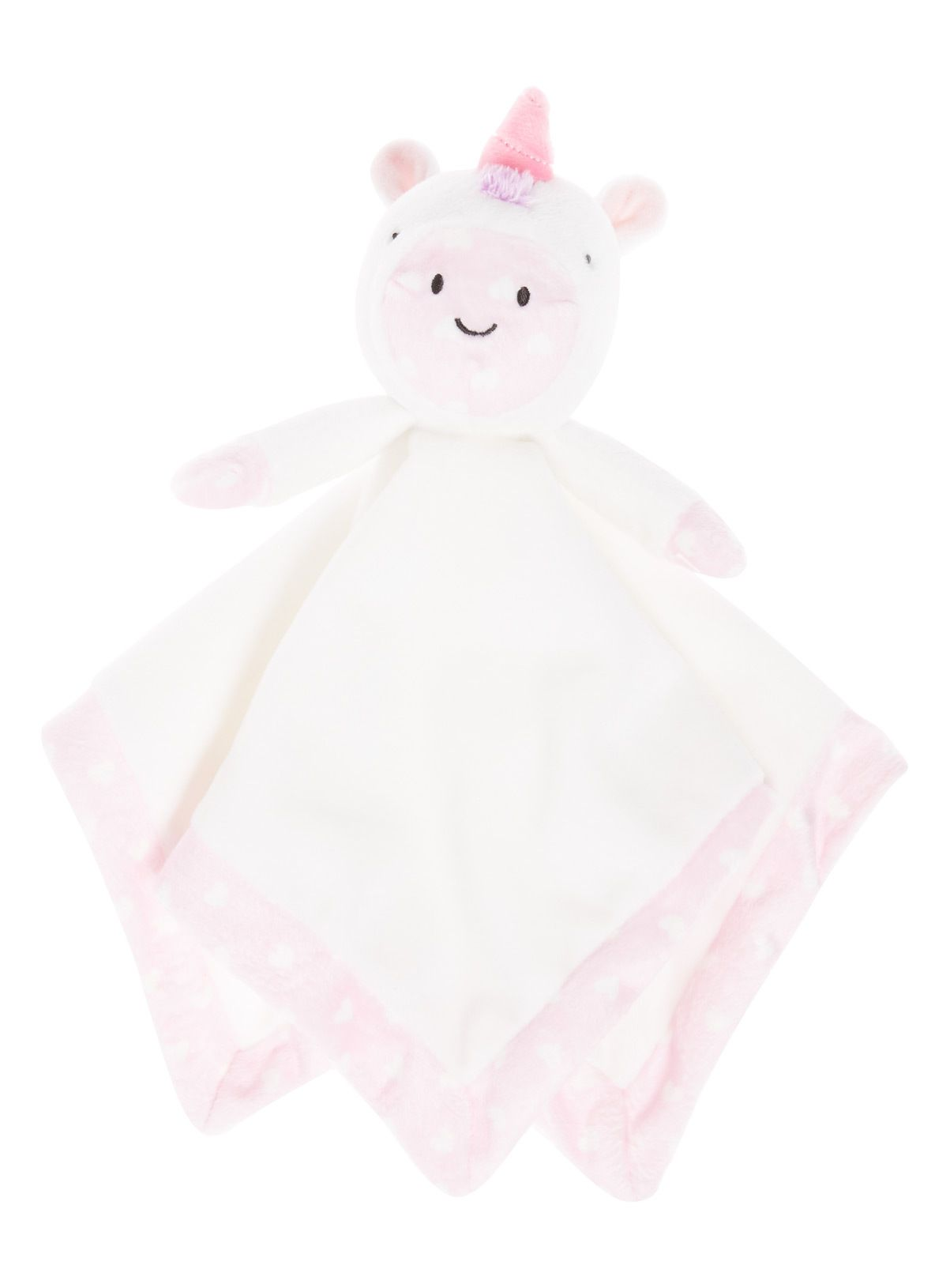 GIFT BLANKIE BABY BOYS GIRLS UNICORN COMFORTER BLANKET SOFT VELOUR WHITE PINK