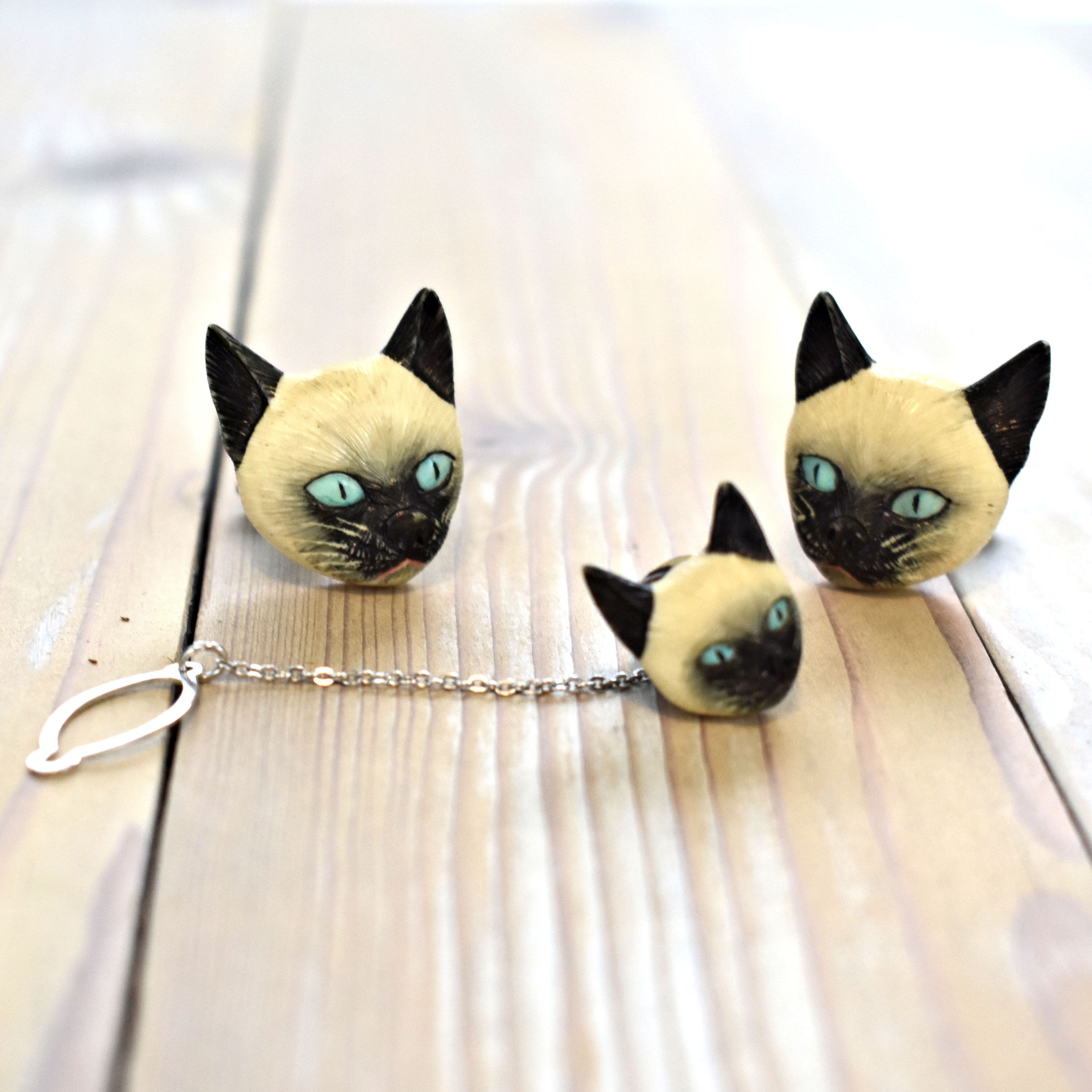 Vintage Cat Cuff Links And Tie Tack Siamese Cat Cufflinks Sterling Silver And Porcelain Gift For Dad Gift For Husband Vintage Cat Gifts For Dad Great