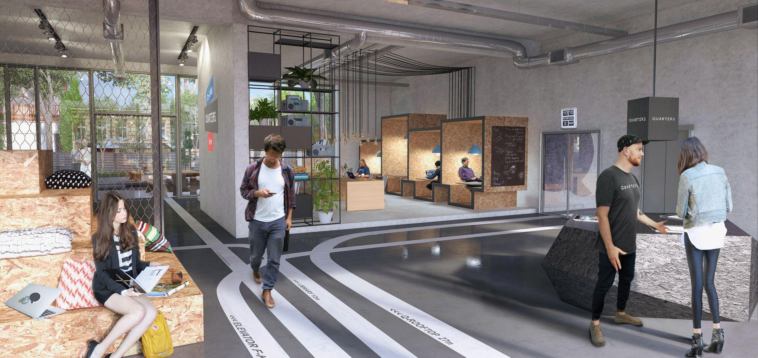 Architekturvisualisierung Berlin interior berlin lobby shared living quaters render