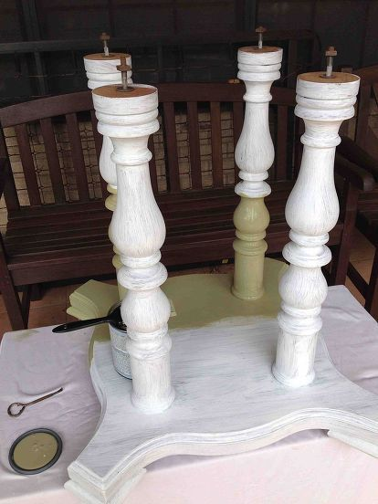 refinishing a dining room table, painted furniture, Lightly sanded the base with 220 grit and painted with Glidden Gripper white primer sealer