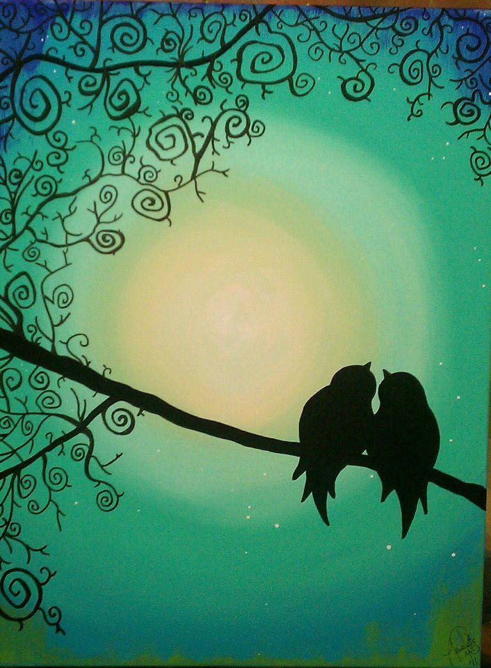 2. Sweet Love Birds Silhouette.jpg (706×960)   Painting   Painting ...