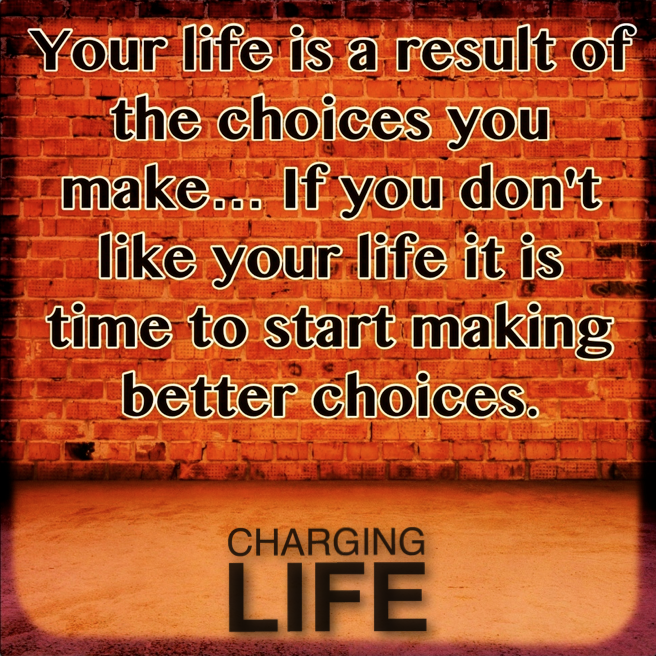 Your life is a result of the choices you make.... | Words ...