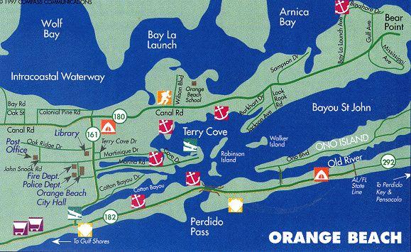 Map Of Orange Beach On The Alabama Gulf Coast