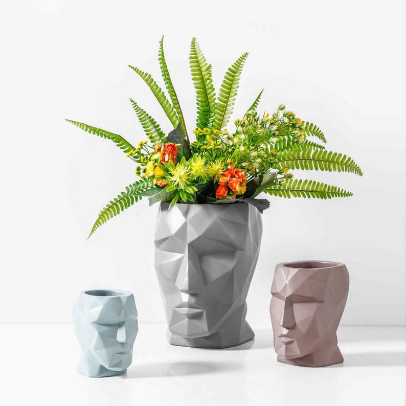 Low Poly Human Head Minimalist Ceramic Vase Modern Home Etsy Face Vase Flower Vases Ceramic Vase
