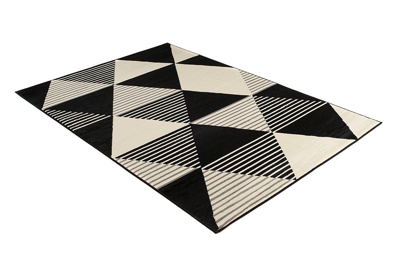 Moderne Tapis Noir Et Blanc Carreaux Tapis Épais Géométrique Salon ...