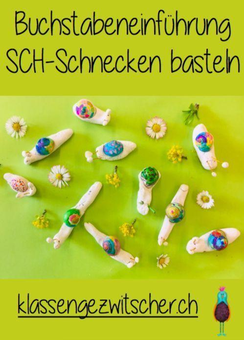 Schnecken basteln zur Einführung SCH  #Deutschunterricht #Buchstabeneinführung #Klassengezwitscher