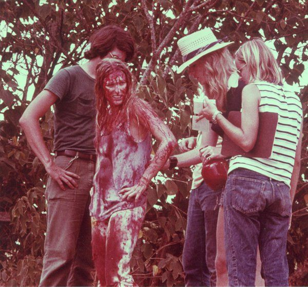 On set.  The Texas Chainsaw Massacre (1974)
