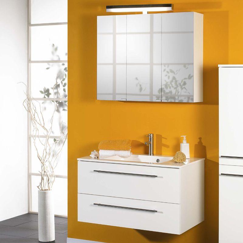 Badezimmer Waschplatz 2-tlg »PINO« in Hochglanz weiß lackiert Jetzt ...